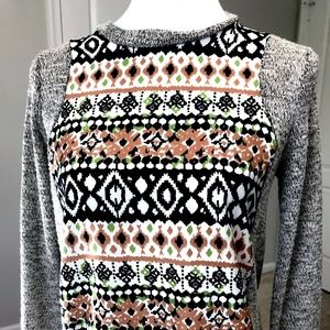 Lily White Brown Print Sweater Top Shirt S Small